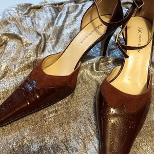 Anne Klein Suede & Patent Leather Pumps, Sz 7.5